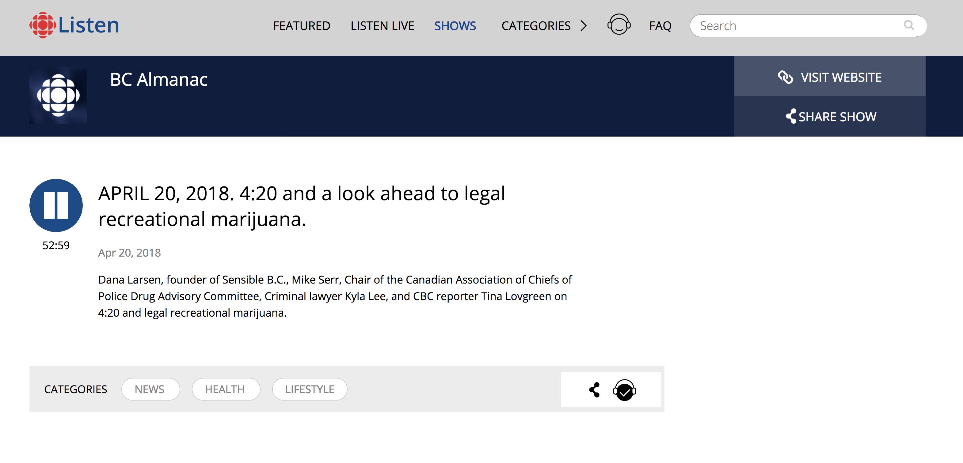 Kyla Lee on CBC's BC Almanac